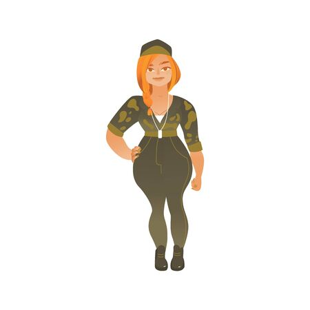 Diversity of women concept element the modern confident woman or girl in military camouflage wear flat cartoon character vector illustration isolated on white background.