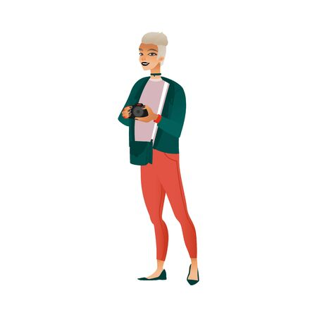 Young woman with short white hair in red pants and green jacket with a camera in hand. Isolated vector female illustration of girl with camera in flat style.