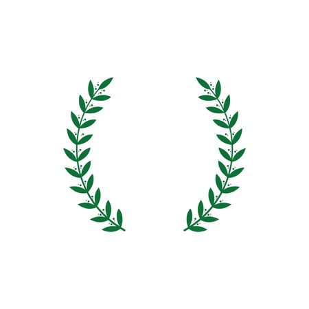 Icon of a green greek wreath. Silhouette award winner, Greek wreath of laurel, figs and olives. Isolated vector illustration. 矢量图像