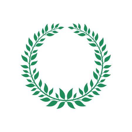 Couronne de vecteur plat vert isolé sur fond blanc, symbole de champion de récompense avec branche ronde et feuilles formant un laurier. Icône d'emblème de cadre de cercle - illustration dessinée à la main Vecteurs