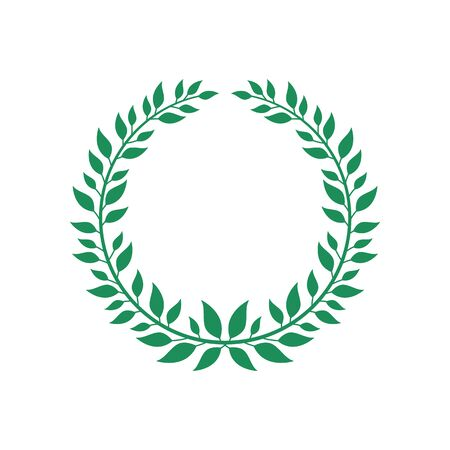 Green flat vector wreath isolated on white background, award champion symbol with round branch and leaves forming a laurel. Circle frame emblem icon - hand drawn illustration Çizim