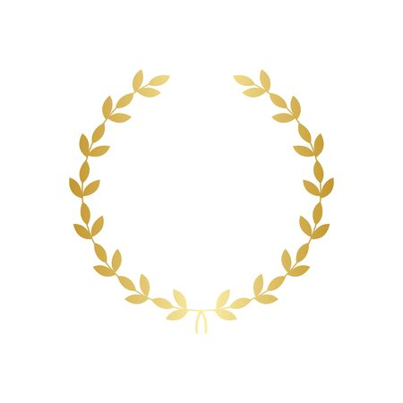 Golden greek laurel wreath the symbol of victory and glory vector illustration isolated on white background. Element for design of winners diploma or quality certificate.