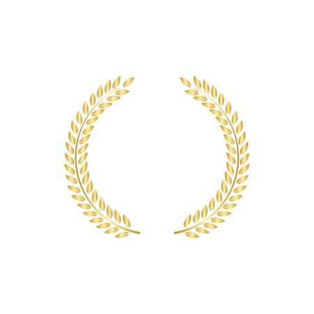 Golden greek laurel or olive wreath the symbol of victory vector illustration isolated on white background. Element for design of winners diploma or quality certificate. Ilustracja