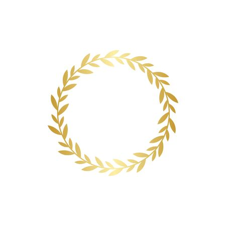 Circle golden gradient laurel wreath in flat style, vector illustration isolated on white background. Round frame with bay leaves or laureate border icon or emblem as symbol of victory and triumph
