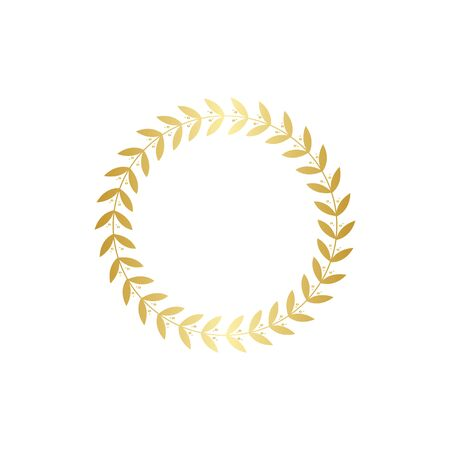 Gold wreath with leaves, golden leaf branch decoration for award laurel or trophy frame. Element of winner insignia - full circle with intricate detail, isolated vector illustration on white backgroun