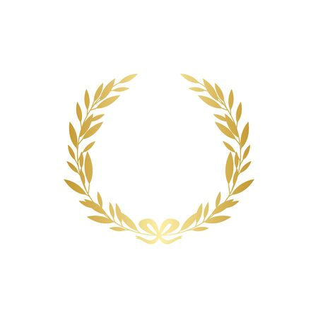 Gold laurel wreath silhouette with golden ribbon, realistic leaf branch decoration - ornate frame for text or award symbol. Isolated vector illustration isolated on white background. Vettoriali