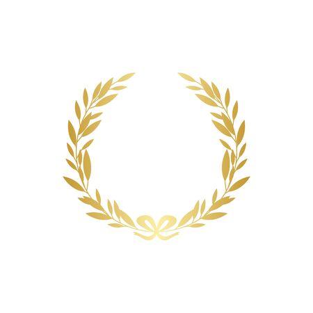 Silueta de corona de laurel de oro con cinta dorada, decoración de rama de hoja realista - marco adornado para texto o símbolo de premio. Ilustración de vector aislado aislado sobre fondo blanco.