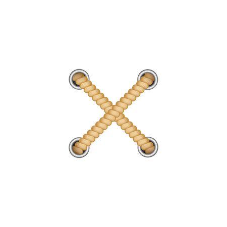 Cruce de dos cuerdas marrones hacia afuera con agujeros con ojales redondos estilo realista, ilustración vectorial aislado sobre fondo blanco. Dos cordones amarillos cruzados como elemento decorativo X