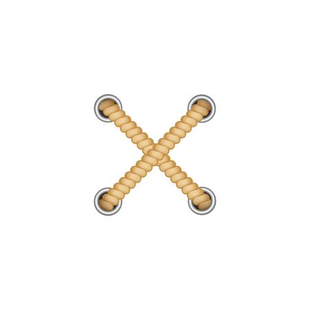 Cross from two brown ropes out holes with round grommets realistic style, vector illustration isolated on white background. Two yellow cord strings crossed over each other as X decorative element