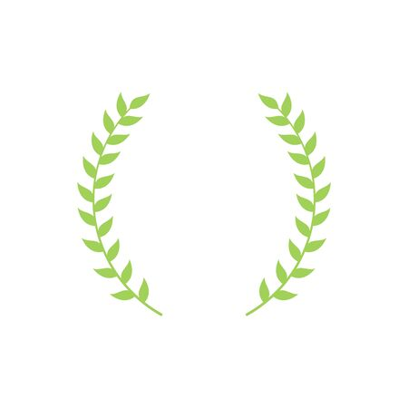 Circle frame from green silhouette of two laurel branches in flat style, vector illustration isolated on white background. Icon or emblem of laureate or bay wreath as symbol of victory and triumph Иллюстрация