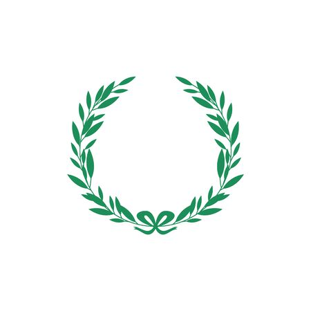 Green silhouette laurel foliate or olive branches circle wreath the classic symbol of an award for achievement flat vector illustration isolated on white background.