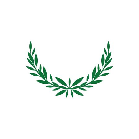 Green flat wreath icon with double branch silhouette with long leaves. Award laurel frame with half circle shape, ornate heraldic emblem isolated on white background, vector illustration.  イラスト・ベクター素材