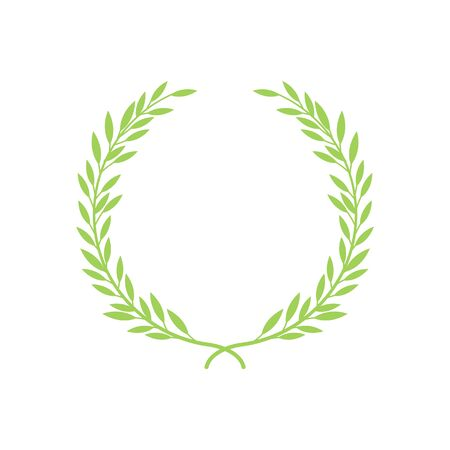 Greek wreath and heraldic round element with a green circular silhouette. Laurel, fig and olive, victory award icons with leaves and frames and vintage vector illustration.