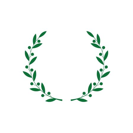 Circle frame from green silhouette of laurel branches with berries in flat style, vector illustration isolated on white background. Icon or emblem of bay wreath as symbol of victory and triumph Vector Illustration