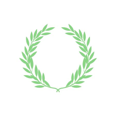 Green silhouette of greek laurel wreath in flat style, vector illustration isolated on white background. Icon or emblem of laureate or bay branches as symbol of victory and triumph