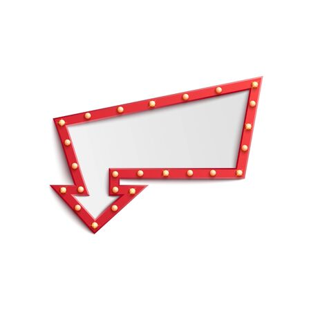 Cadre d'ampoule de signe de flèche rouge avec de petites lumières rétro, spectacle de casino, modèle de panneau d'affichage publicitaire de cirque ou de boîte de nuit avec un espace pour le texte, illustration vectorielle réaliste isolée isolée sur fond blanc
