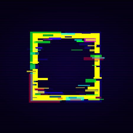 Distorted glitch digital style square frame in bright neon colors vector illustration on the dark striped background. Glow graphic border element for web banner and poster.