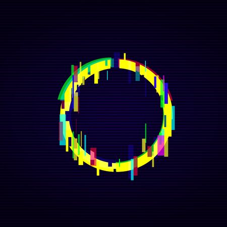 Glitch digital style circle frame in bright neon colors vector illustration on the dark background. Glow graphic round border element for web banner and poster. Ilustração