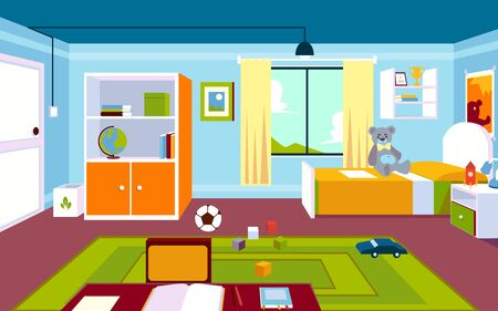 Interior of the kids room in the home with a carpet and a window, furniture and a bed, toys and a table in a cartoon style.