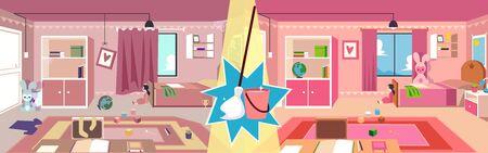 Mädchenzimmer vor und nach dem Aufräumen mit Moppbesen und Eimer. Vergleichsaufnahme von unordentlichen und sauberen Kinderzimmern, Innenaufräumservice-Banner-Design - flache Cartoon-Vektorillustration