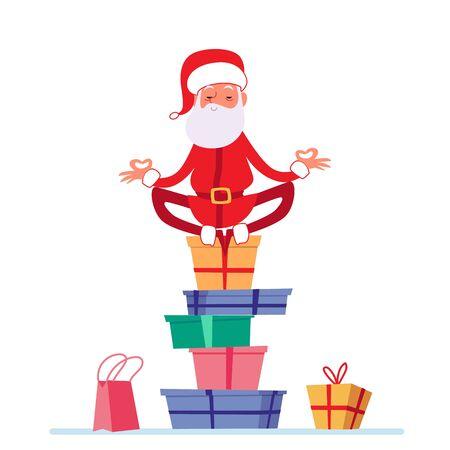 Santa en pose de yoga de loto está sentado en la pila de regalos de Navidad estilo de dibujos animados, ilustración vectorial aislado sobre fondo blanco. Hombre vestido con traje de Santa Claus está meditando sobre la pila de cajas de regalo
