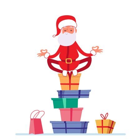 Santa in lotus yoga pose is sitting on stack of Christmas presents cartoon style, vector illustration isolated on white background. Man dressed Santa Claus costume is meditating on pile of gift boxes