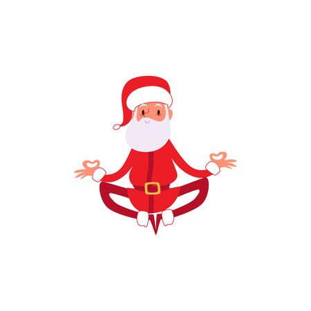 Christmas or New Year winter holiday sport healthy character the Santa Claus in the relaxing meditative yoga pose flat cartoon illustration isolated on white background.