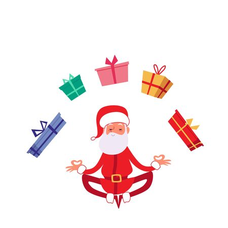 Winter christmas holiday card or banner element showing Santa in yoga pose meditates among gift boxes, flat cartoon vector illustration isolated on white background. Stock fotó - 128170893
