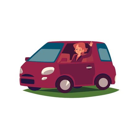 A young caucasian woman or girl driver smiles, waves her hand and drives a car. Woman driver is sitting in the car and driving her, girl driving, isolated vector flat cartoon illustration.