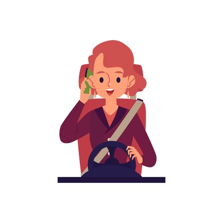 Young cheerful woman driving a car and talking on the phone flat cartoon vector illustration isolated on white background. Female driver in her automobile icon. Illustration