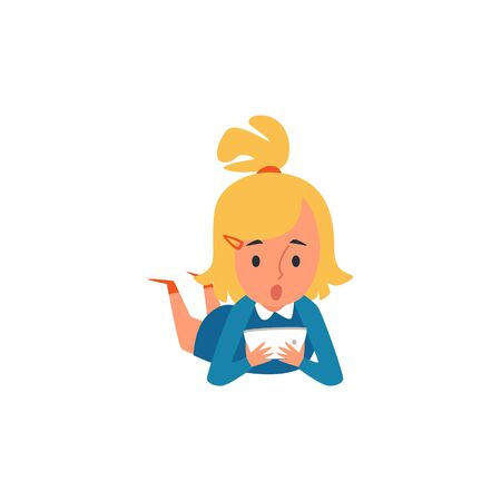 Little Caucasian blonde kid and child girl lying on the floor and playing, looking at the tablet and wonders. Kids behavior, isolated flat cartoon vector illustration.