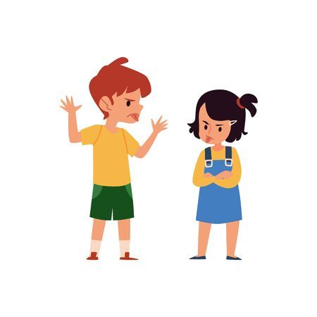 Cartoon boy and girl taunt and mock each other, angry children sticking tongue and showing mischief behavior, siblings fight and argument isolated on white background - flat vector illustration Çizim