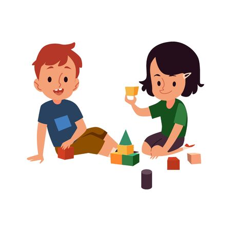 Boy and girl playing with blocks - two cartoon kindergarten children having fun game with construction toy, childhood education