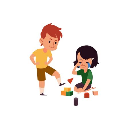 Junge mit schlechtem Verhalten, der weinendes Mädchen schikaniert, Cartoon-Kind, der die Spielzeugwürfel seiner Schwester tritt, Kinder in Konflikt, die mit Blöcken spielen playing