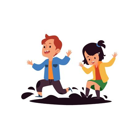 Children jump in puddles the bad kids behavior cartoon characters flat Çizim