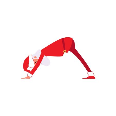 Funny Santa Claus doing yoga - winter holiday symbol in red Christmas costume and hat in meditation downward facing dog pose - isolated flat hand drawn vector illustration on white background