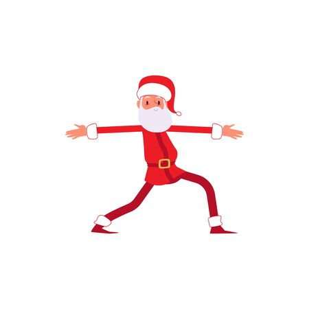 Cartoon Santa in Christmas costume in leg stretching yoga pose or funny dance move, winter holiday mascot in Xmas costume having fun, isolated flat vector illustration on white background