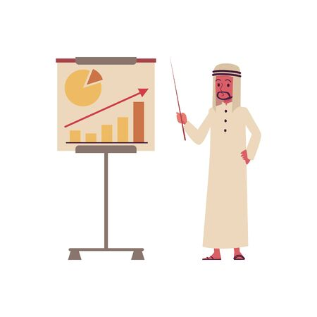 Arab businessman cartoon character with infographic diagram stand flat