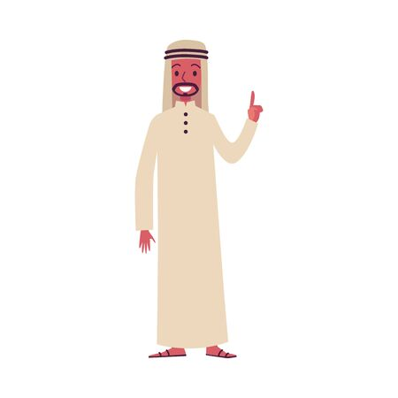 Arab man oriental characters in traditional Muslim clothes and with a beard is standing and lifting a finger up.