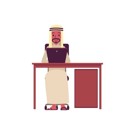 Arab business man sitting behind desk working on laptop, happy male cartoon character in traditional Arabic thobe clothing typing on computer Archivio Fotografico - 125387607
