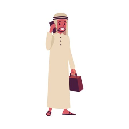 Arab businessman talking on the phone - male Saudi or Emirate cartoon character in traditional clothes smiling and standing isolated on white