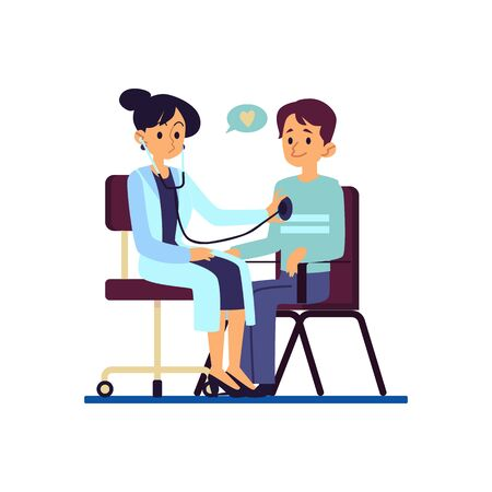 A doctor examines the heart of her patient man at the healthcare, clinic flat vector illustration isolated on white background. A man or guy at the medical consultation.