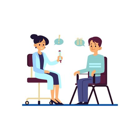Male patient in medical consultation with doctor during visit hospital or health care clinic flat cartoon vector illustration isolated on white background. Medical consultant and his patient.