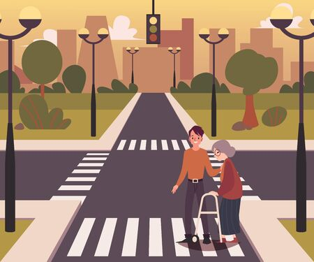 Cartoon city crossroad landscape with a character of a man helping elderly lady to cross the road, flat vector illustration background. Road with intersection way. Çizim
