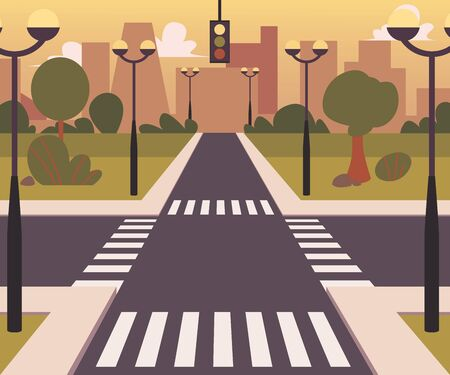 Cartoon city landscape with a crossroad and sidewalk, crosswalk and urban landscape vector illustration background. Road with an intersection way. Illustration
