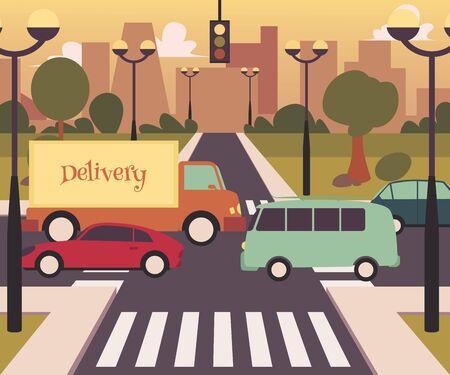 Cruce de peatones en la ciudad moderna, tráfico por carretera con autobús, tarjeta, camión de reparto y paso de peatones, ilustración vectorial de dibujos animados planos del sistema de transporte moderno