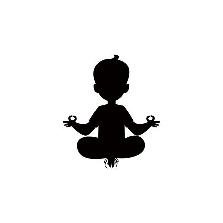 Black silhouette of a child sitting in lotus yoga pose and meditating vector illustration isolated on white background. Little boy doing gymnastics exercise icon. Çizim