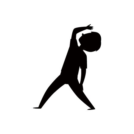 Cartoon boy in yoga pose - black silhouette outline.