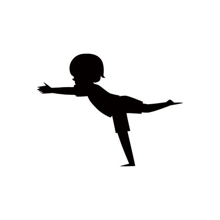 Black silhouette of a child or kid standing in yoga balance pose Illustration