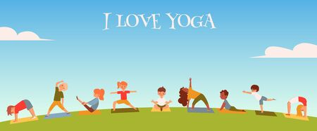 I love yoga kids and children concept. Children boys and girls in various poses do yoga in nature, meadow and outdoors on mat Çizim
